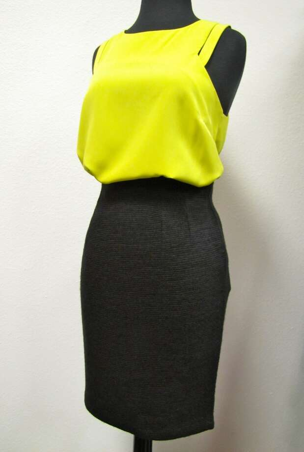 Neon top, $68. Ribbed pencil skirt, $69.99. LUXE Boutique, Beaumont Photo: Cat5