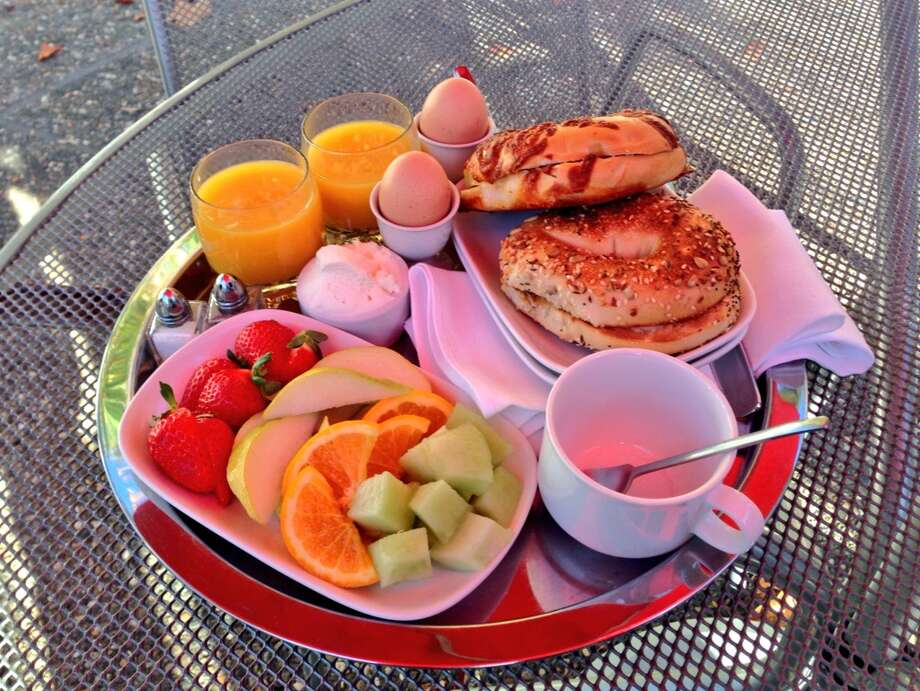 The breakfast at Boon Hotel in Guerneville, served in your room or around the pool