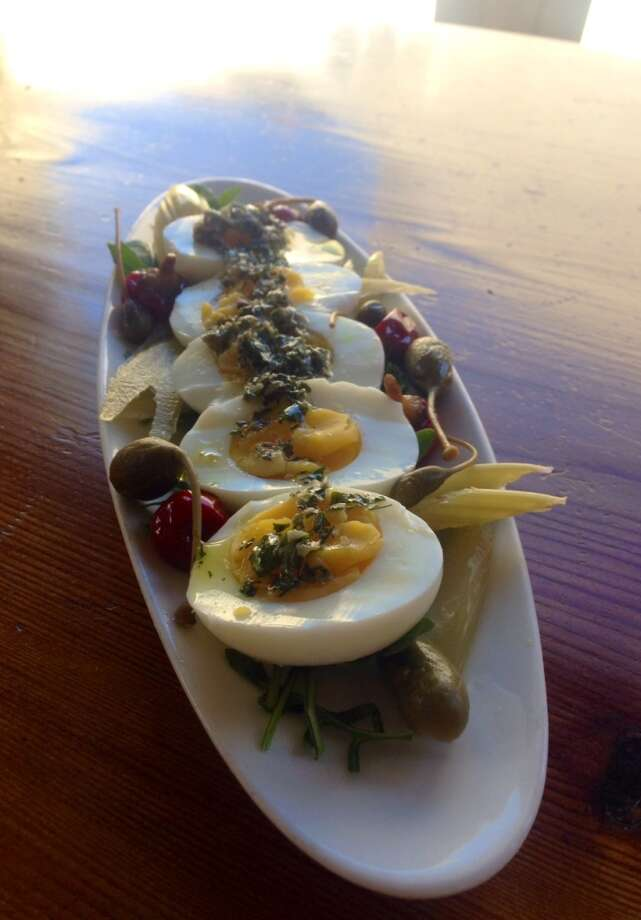 Hard-cooked eggs at Campo Fina in Healdsburg