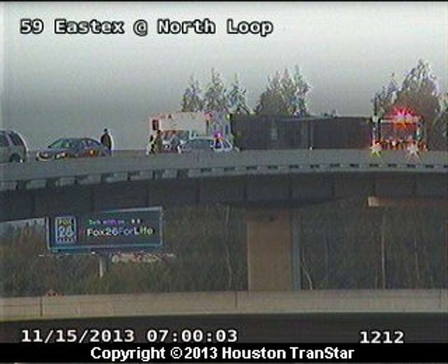 The eastbound North Loop is jammed near the outbound Eastex Freeway after a big rig oveturned about 6:50 a.m. Friday. Photo: Houston Transtar
