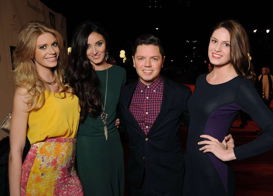 Designer David Peck with models Alyssa Pasek, Katelyn Denney and Marisa McPhaul on the red carpet at Fashion Houston at the Wortham Theater Thursday Nov.14. Photo: Dave Rossman, For The Houston Chronicle
