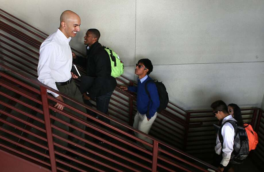 Neel Kashkari, who is preparing to run for governor as a Republican next year, tours Eastside College Preparatory School in East Palo Alto this month. Photo: Liz Hafalia, The Chronicle