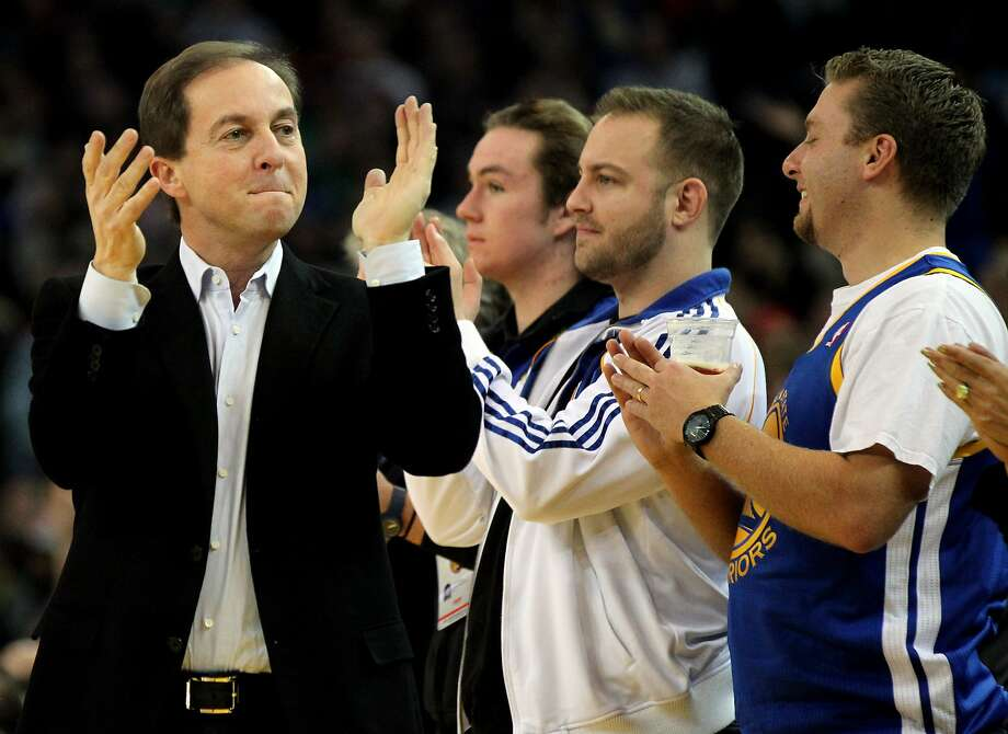 Golden State Warriors owner Joe Lacob celebrates with the fans at the end of the first period when the Warriors took the lead over the Boston Celtics in the first half of their NBA basketball game Saturday, Dec. 29, 2012 in Oakland, California. Photo: Lance Iversen, The Chronicle