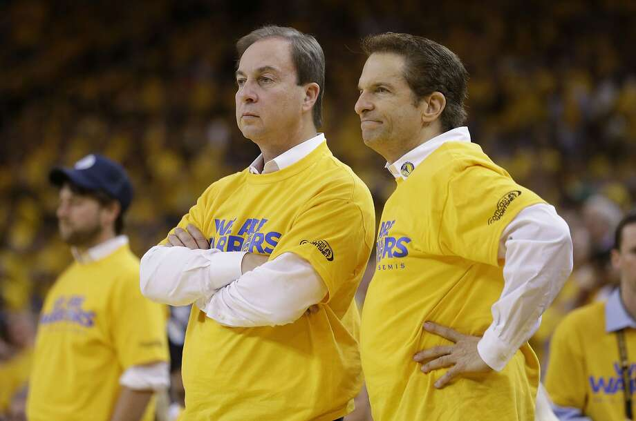Golden State Warriors owners Joe Lacob, left, and Peter Guber during Game 6 of a Western Conference semifinal NBA basketball playoff series between the Golden State Warriors and the San Antonio Spurs in Oakland, Calif., Thursday, May 16, 2013. San Antonio won 94-82. Photo: Jeff Chiu, AP