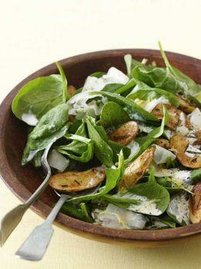 Roasted Potato, Spinach and Parmesan Salad