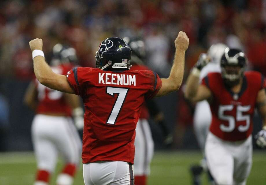 Case Keenam reacts after making a play for the Texans. Photo: Cody Duty, Houston Chronicle