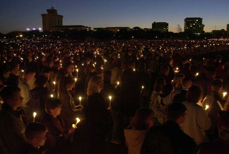 Thousands gather on the Texas A&M campus for a candlelight vigil one week following the collapse of the bonfire.  Photo: SMILEY N. POOL, Houston Chronicle / Houston Chronicle