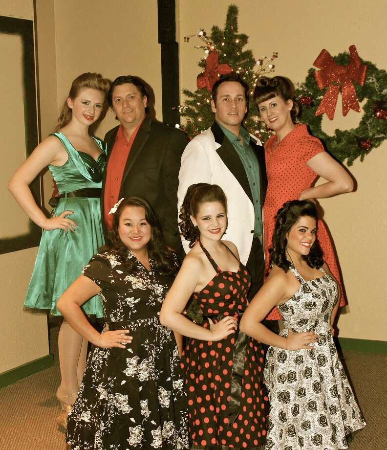"Ashton Folsom (clockwise from left), Daniel Melton, Shawn Kjos, Heidi Melton, Sarah Peters, Seeley Stephens and Jenn Harris appear in ""Step Into Christmas"" at the Harlequin Dinner Theatre. Photo: Courtesy Nikki Folsom"