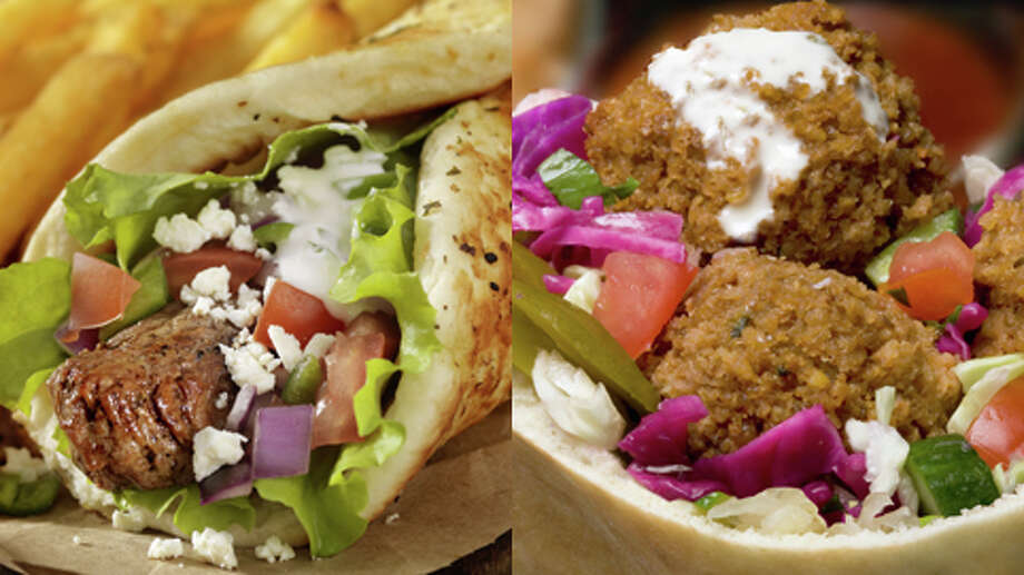 Gyro or Falafel?  Falafel  The gyro has more saturated fat, more calories, and (usually) more sodium than the falafel—or chicken or vegetable sandwich fillings—on most menus. Photo: Getty Creative Stock