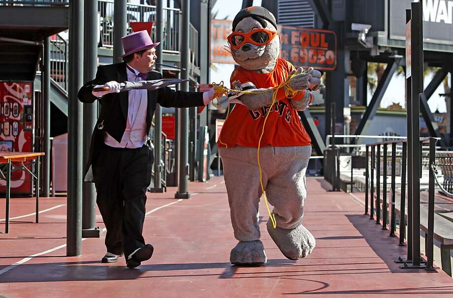 Lou Seal, mascot of the Gotham City Giants, was kidnapped by Penguin and rescued by Batkid. Photo: Michael Macor, The Chronicle