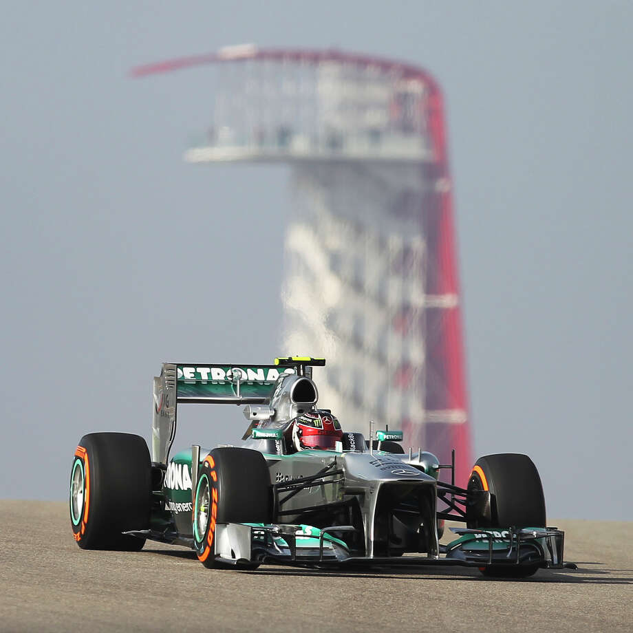 Merceds AMG Petronas' Lewis Hamilton rounds a corner during the Formula One United States Grand Prix morning practice session at the Circuit of the Americas near Austin, Texas on Friday, Nov. 15, 2013. Photo: Kin Man Hui, San Antonio Express-News / ©2013 San Antonio Express-News