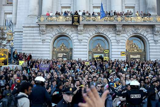 Thousands lined the streets in front of City Hall to support Miles during a Make-a-Wish benefit where Miles Scott, 5 saves Gotham as Batkid in San Francisco, Calif., Friday November 16, 2013. Photo: Jason Henry, Special To The Chronicle