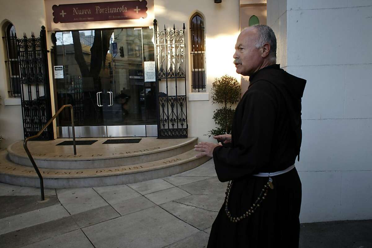Father Harold Snider, OFM Capuchin of the St. Francis of Assisi walks to the Nuova Porziuncola, Friday November 15, 2013, in San Francisco, Calif.
