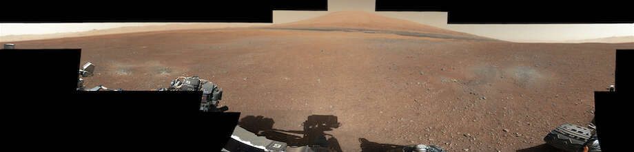 The full image of a panorama created by NASA from photos taken by the Mars rover Curiosity in August 2012, just days after it landed on the Red Planet. Keep going to zoom in on what looks like a face from a statue … you know, on MARS!