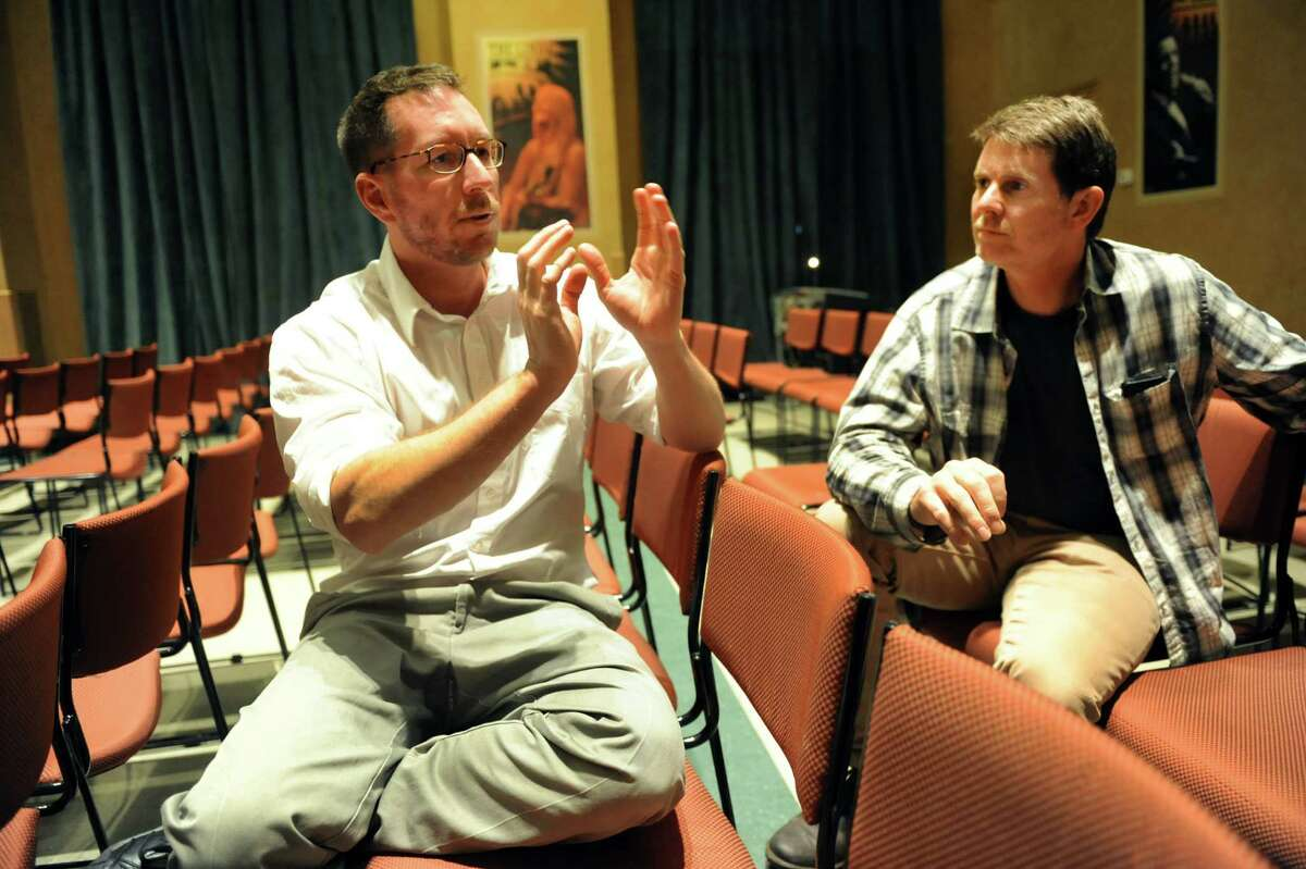 """Writer Andrew Carroll, left, and director John Benitz discuss """"If All the Sky Were Paper"""" on Friday, Nov. 15, 2013, at WAMC's The Linda in Albany, N.Y. The play, written by Carroll, is based on roughly 100,000 unpublished letters from every major American conflict from the American Revolution to modern-day Afghanistan and Iraq. (Cindy Schultz / Times Union)"""