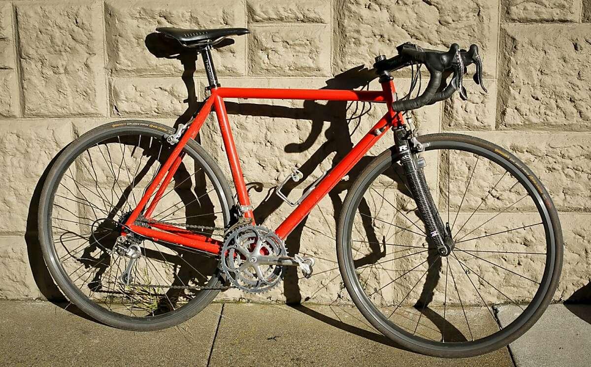 Randall Kline's custom-made steel framed bicycle by Dario Pegoretti is seen on Tuesday, Nov. 5, 2013 in San Francisco, Calif.