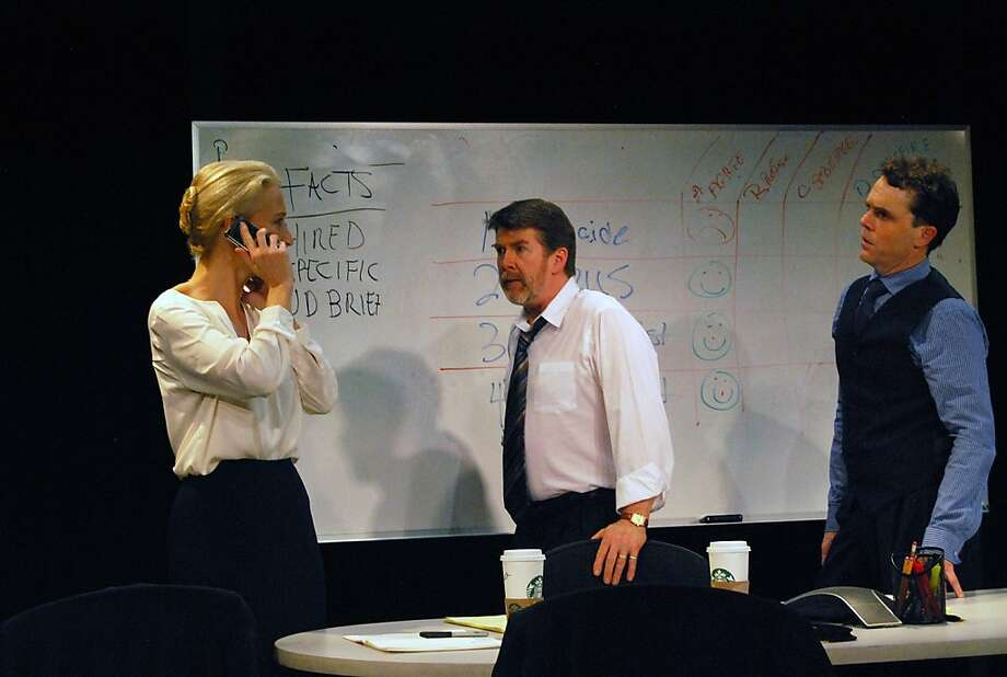 "Carrie Paff (left), Michael Ray Wisely and Mark Anderson Phillips play consultants in ""Ideation."" Photo: Jordan Puckett"