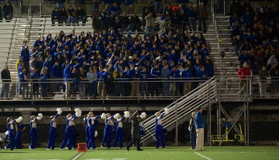 Action from SWC football game between Brookfield and Joel Barlow High Schools. Played at Western Connecticut State University, Danbury, Conn, on Friday night, November 15, 2013. Photo: H John Voorhees III / The News-Times Freelance