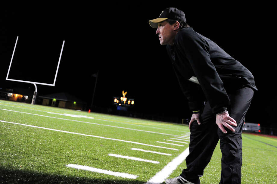 Trumbull Head Coach Bob Maffei, during football action against Central in Trumbull, Conn. on Friday November 15, 2013. Photo: Christian Abraham / Connecticut Post