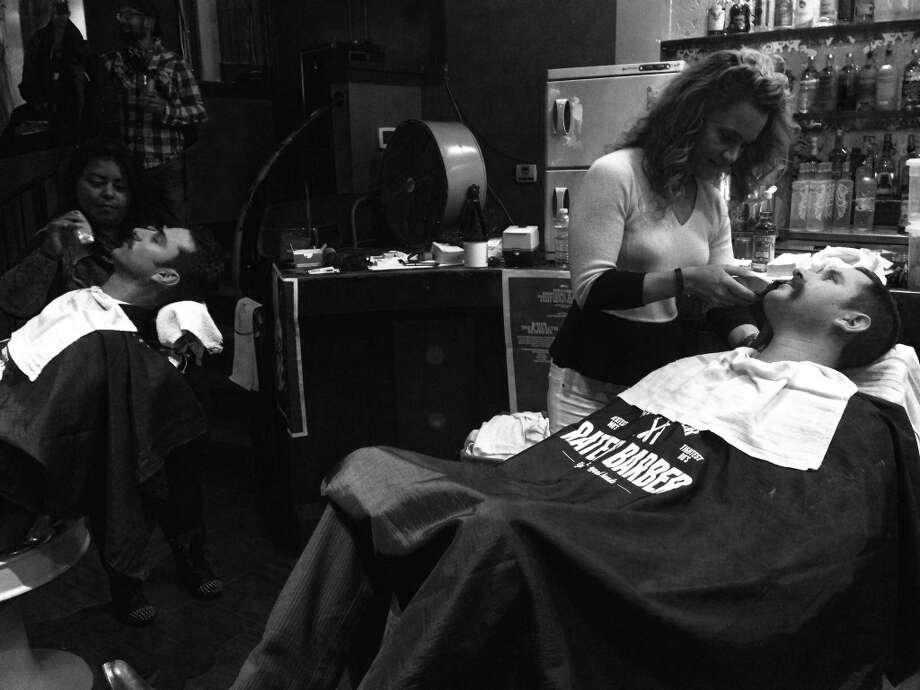 "Movember participants at ""Shave the Date"" at Mayes Oyster Bar November 1, 2013."