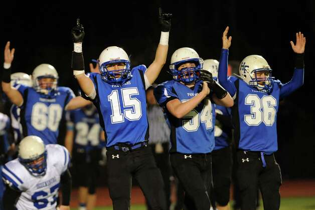 Hoosick Falls' celebrates a touchdown during their Class C regional football semifinal against Ogdensburg on Friday, Nov. 15, 2013, at Stillwater High in Stillwater, N.Y. (Cindy Schultz / Times Union) Photo: Cindy Schultz / 00024622A