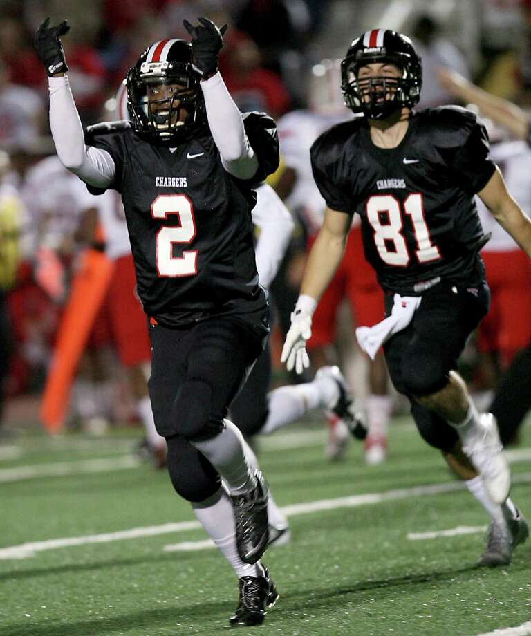 Churchill Chargers's Deja Morrow (2) celebrates after recovering a fumble from Judson Nov. 15, 2013 at Comalander Stadium. Photo: Cynthia Esparza, Cynthia Esparza/Special To The Express-News / For the San Antonio Express-News
