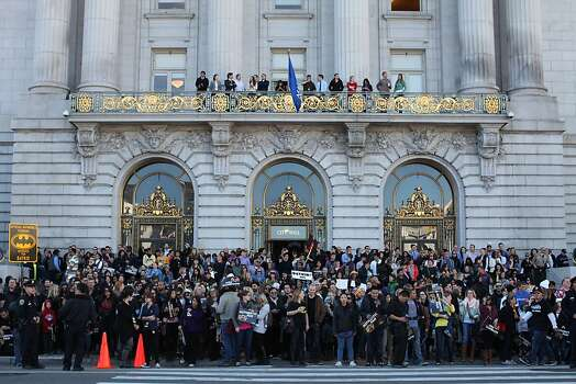 Crowds lined the streets in front of City Hall to support Miles during a Make-a-Wish benefit where Miles Scott, 5 saves Gotham as Batkid in San Francisco, Calif., Friday November 15, 2013. Photo: Jason Henry, Special To The Chronicle
