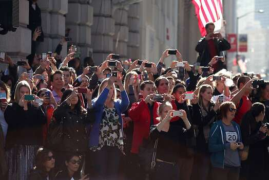 Crowds lined the streets to catch a glimpse of Miles during a Make-a-Wish benefit where Miles Scott, 5 saves Gotham as Batkid in San Francisco, Calif., Friday November 16, 2013. Photo: Jason Henry, Special To The Chronicle
