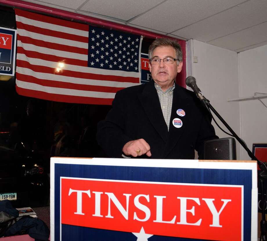 Brookfield's elected First Selectman, Republican Bill Tinsley, gives his victory speech at the Republican Headquarters in Brookfield on Tuesday, Nov. 5, 2013. Photo: Lisa Weir / The News-Times Freelance