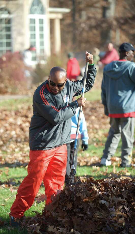 Phillip Syas came all the way from Baton Rouge, LA, with his family to take part in the annual Rake n Bake in Brookfield, Conn. He met Peter Brady, the founder of the event,  in 2012 and excepted an invitation to participate this year. Saturday November 16, 2013. Photo: H John Voorhees III / The News-Times Freelance