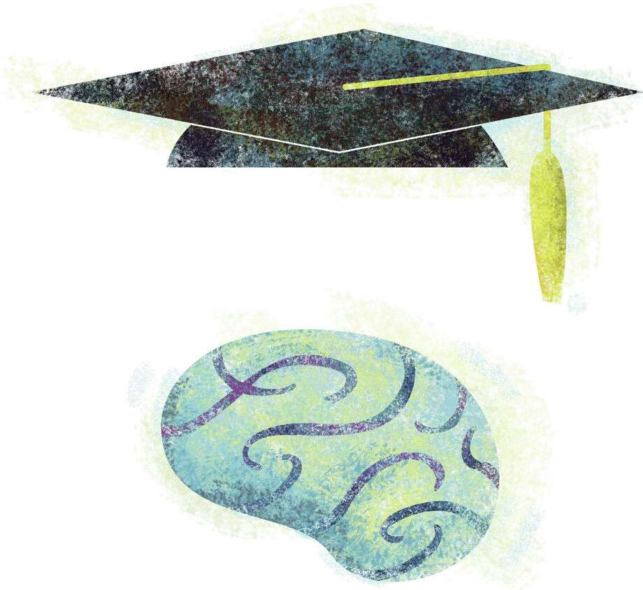 Paul Schmid color illustration of mortarboard and brain. The Seattle Times 2006.  brain education mortarboard graduation academic cap intelligence school college university masters degree student, krteducation education, krtnational national, krtworld world, krtfeatures features, krt, mctillustration, aspecto aspectos birrete educacion escuela estudiante cerebro illustration ilustracion grabado, mct mct2006 se contributor coddington schmid, 2006, krt2006 Photo: Schmid / (c) MCT 2006