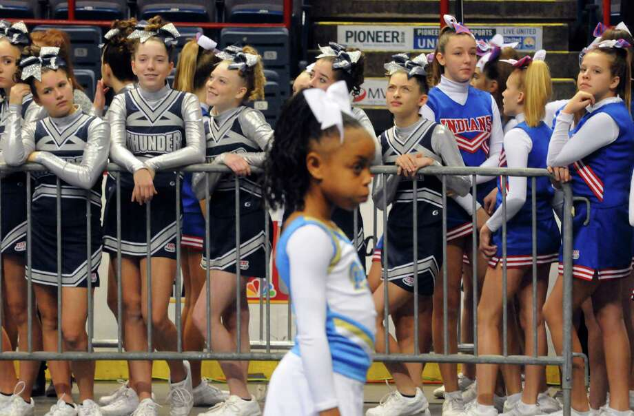 Teams from New York and surrounding states compete in the Eastern Region Pop Warner Cheer and Dance Championships at the Times Union Center on Saturday Nov. 16, 2013 in Albany, N.Y. The competition continues at the Times Union Center on Sunday.  (Michael P. Farrell/Times Union) Photo: Michael P. Farrell / 00024616A
