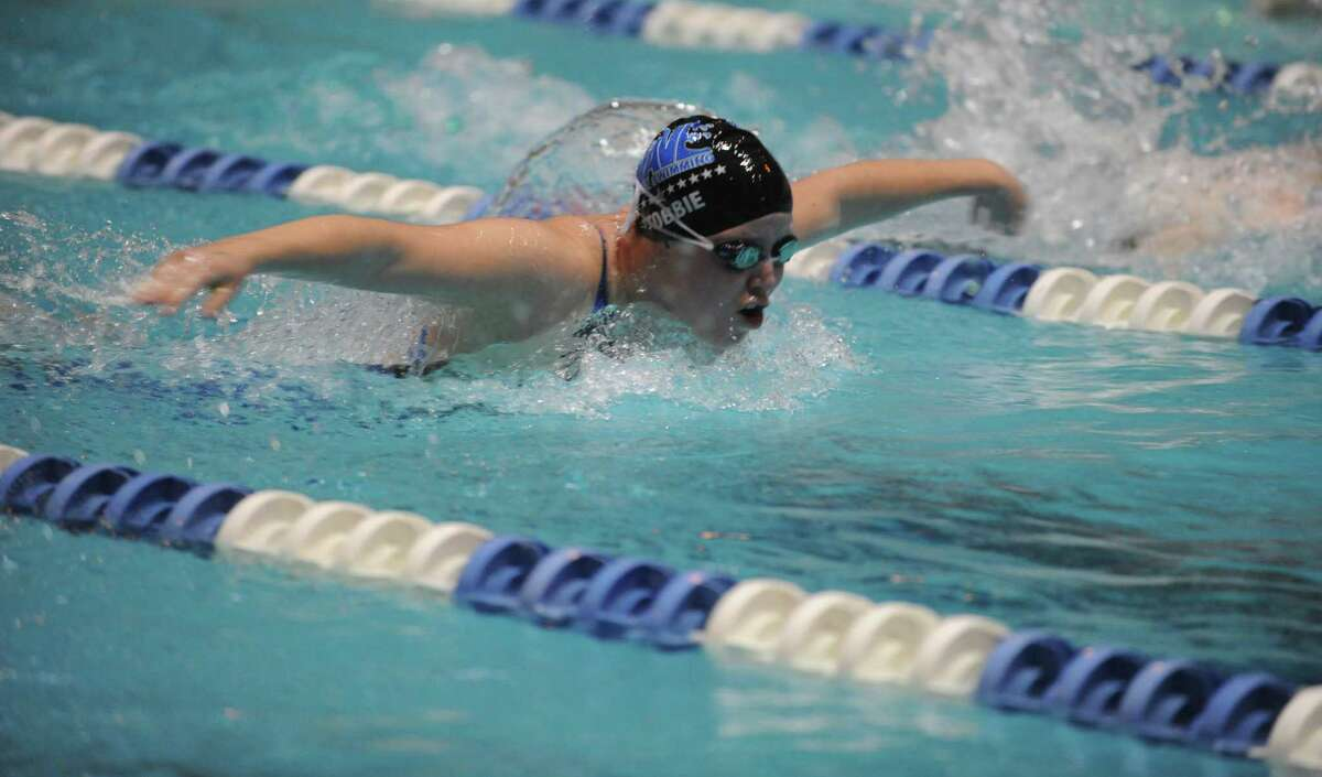 Darien's Julia Stobbie races in the 200 Yard Intermediate Medley Saturday, Nov. 16, 2013 at the CIAC Open Championship at Yale's Kiputh Pool in New Haven, Conn.