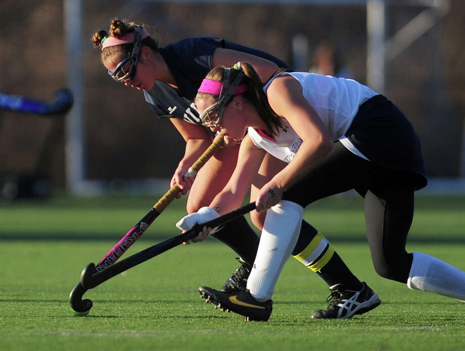 Class M girls state field hockey championship action between Wilton and Lauralton Hall in Wethersfield, Conn. on Saturday March 16, 2013. Photo: Christian Abraham / Connecticut Post