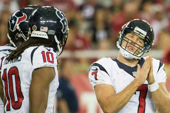 The Texans pray Case Keenum, right, is their answer at quarterback so they can use next year's draft to plug holes at other positions.