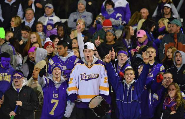 CBA fans cheer on their team during the Class AA regional semifinal against Monroe-Woodbury Saturday Nov. 16, 2013, at Dietz Stadium Kingston, NY.  (John Carl D'Annibale / Times Union) Photo: John Carl D'Annibale / 00024620A