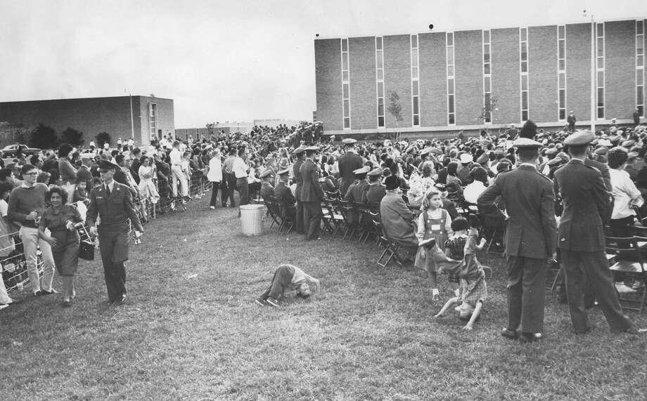 A crowd gathers at Brooks Medical Research Center to see President John F. Kennedy speak on Nov. 21, 1963. Photo: San Antonio Light File Photo