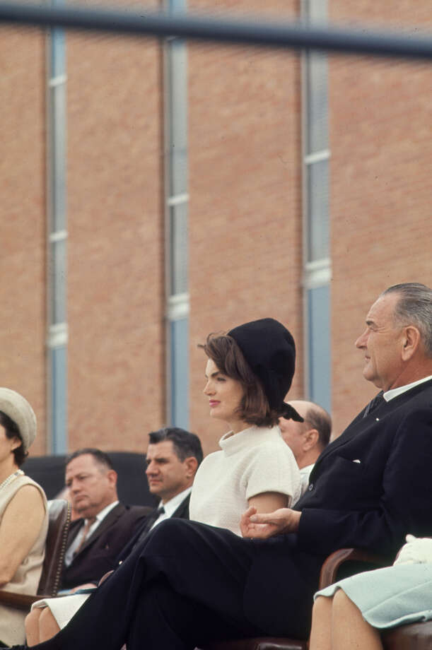 Vice President Lyndon Johnson sits with Jacqueline Kennedy at the dedication of the Aerospace Medical Health Center at Brooks AFB in San Antonio on Nov. 21, 1963. Photo: Art Rickerby, Time & Life Pictures Via Getty Images / Time & Life Pictures