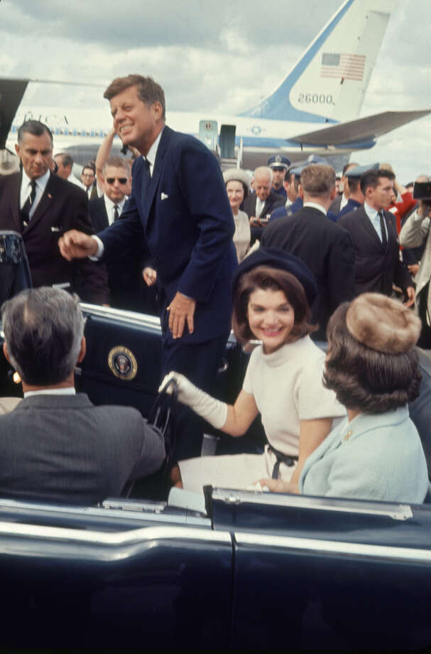 Texas Gov. John B. Connally Jr. with his wife Nellie drives President John F. Kennedy and Jacqueline Kennedy at San Antonio International Airport on Nov. 21, 1963. Photo: Art Rickerby, Time & Life Pictures Via Getty Images / Time & Life Pictures