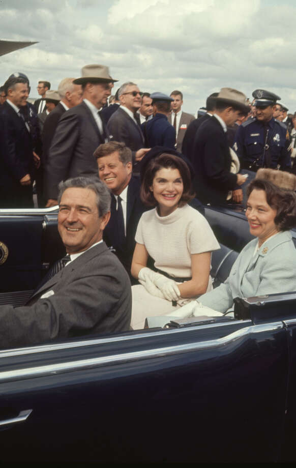 Texas Gov. John B. Connally Jr. with his wife Nellie drives President 
