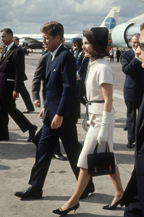 President John F. Kennedy and wife Jacqueline arrive at the San Antonio International Airport on Nov. 21, 1963. Photo: Art Rickerby, Time & Life Pictures Via Getty Images / Time & Life Pictures