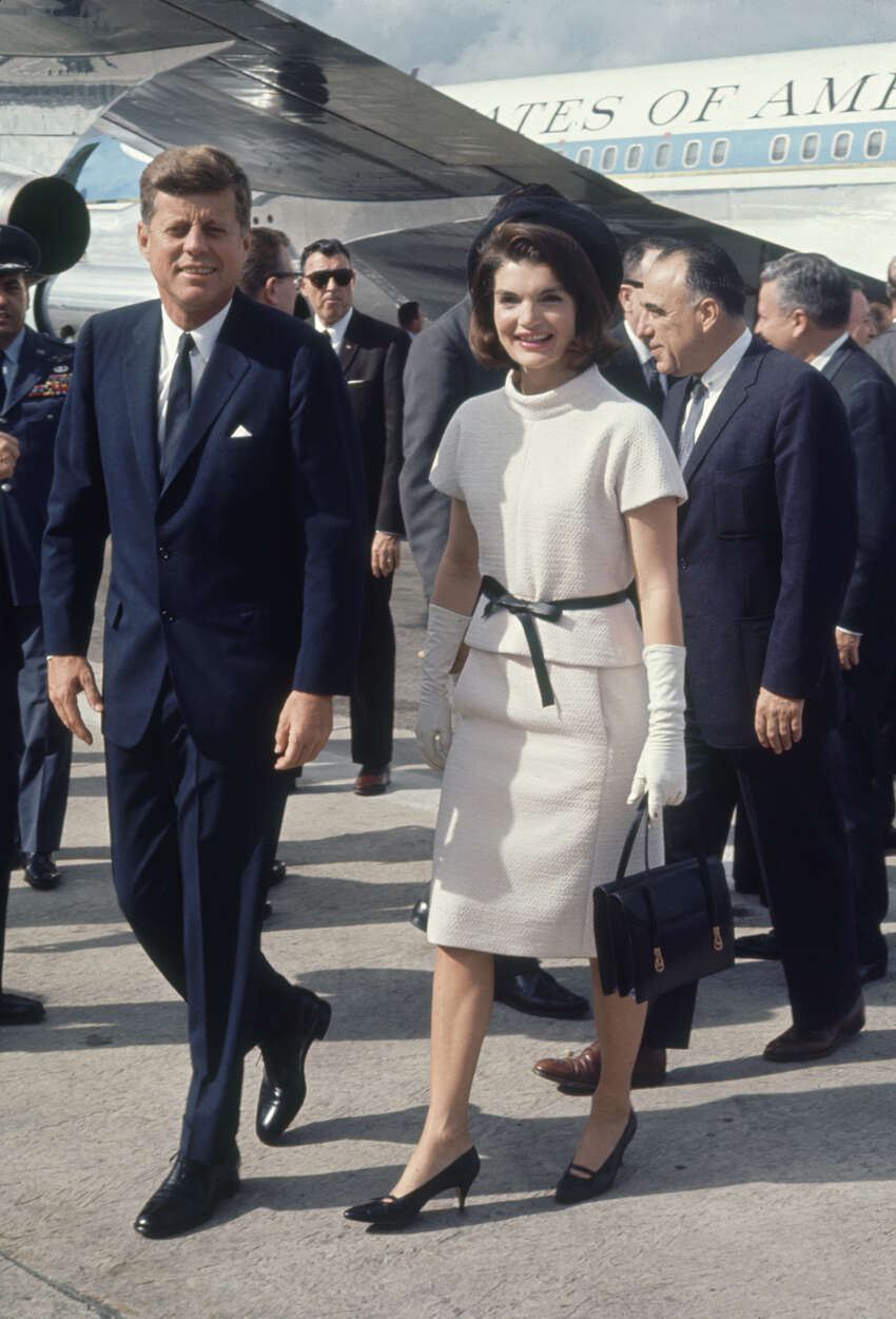 President John F. Kennedy and wife Jacqueline arrive at the San Antonio International Airport on Nov. 21, 1963.