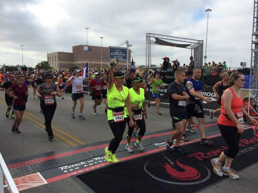 The finish line at the sxth Rock 'n' Roll San Antonio Marathon and 1/2 Marathon Sunday morning, Nov. 17, 2013.