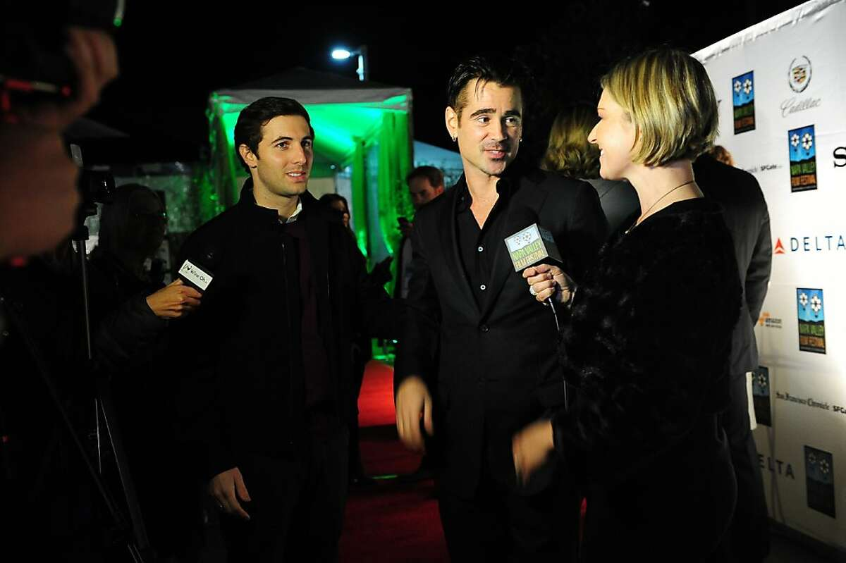 Actor Colin Farrell is interviewed on the red carpet by Katie Hamilton Shaffer at the Napa Valley Film Festival Gala in Napa on November 14, 2013.