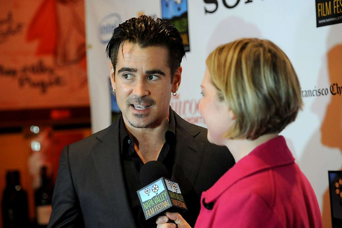 Actor Colin Farrell is interviewed on the red carpet by Katie Hamilton Shaffer before the screening of