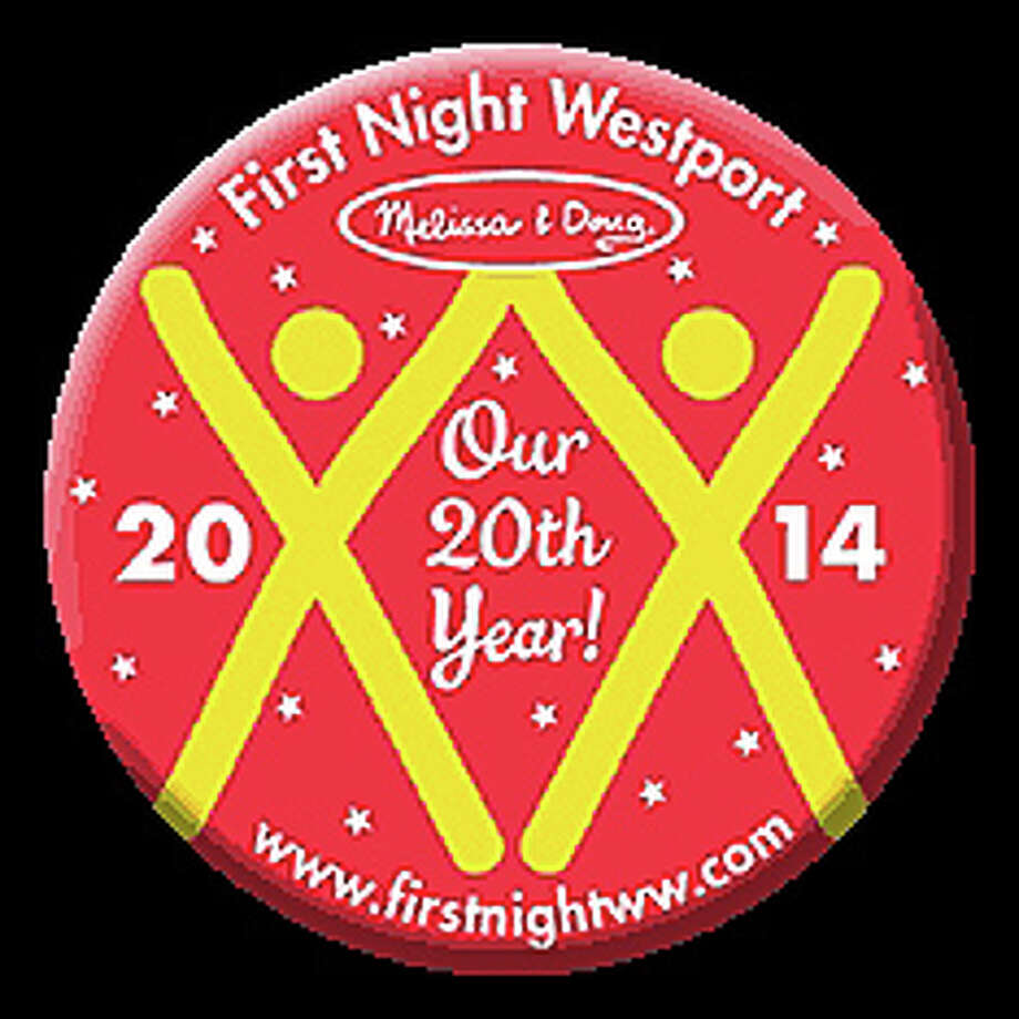 "The First Night Westport button for 2014, designed by local artists Miggs Burroughs, recognizes the 20th anniversary of the local new year's celebration by incorporating two large ""XX"" images -- Roman numerals for 20 -- into the motif. Photo: Contributed Photo / Westport News contributed"