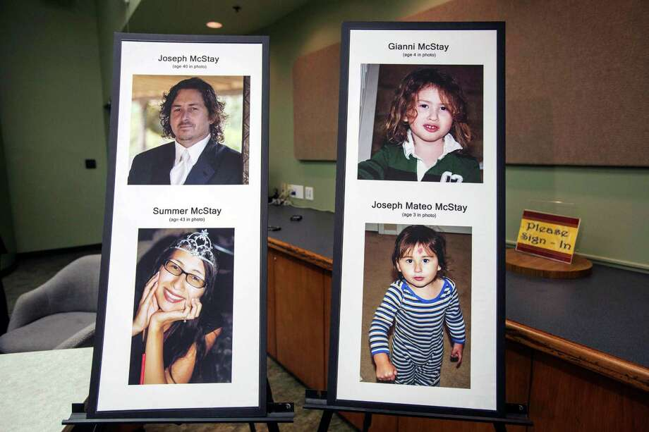 This photo display at a press conference at the San Bernardino County Sheriff's Department headquarters in San Bernadino, Calif., shows Joseph and Summer McStay, and their children Gianni and Joseph Mateo who went missing  in 2010 from their San Diego home. The San Bernardino County Sheriff said Friday, Nov. 15, 2013, that the family's skeletal remains were found buried  in the desert about 60 miles northeast of Los Angeles earlier this week. Photo: Ringo H.W. Chiu, AP / FR170512 AP