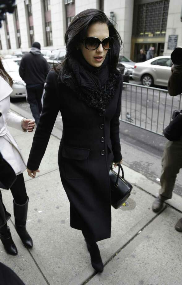 Hilaria Baldwin, wife of actor Alec Baldwin, arrives to court in New York, Tuesday, Nov. 12, 2013. Alec Baldwin testified Tuesday that he never had a sexual or romantic relationship with Canadian actress Genevieve Sabourin, who accused of stalking him. He said that after they met she began leaving dozens of voice mails for him a night and eventually started threatening to show up at his homes. Photo: Seth Wenig, AP / AP2013
