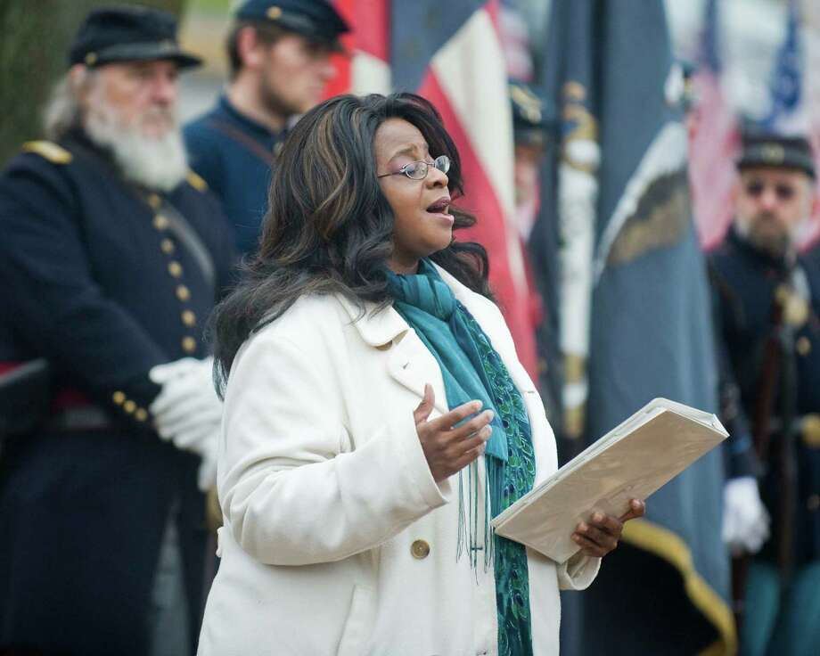 Gospel Singer Vicki Smith of New Milford sings spiritual songs at the New Milford Historical Society for the celebration of the Underground Railroad and 150th anniversary of the Civil War. Sunday, Nov. 17, 2013 Photo: Scott Mullin / The News-Times Freelance