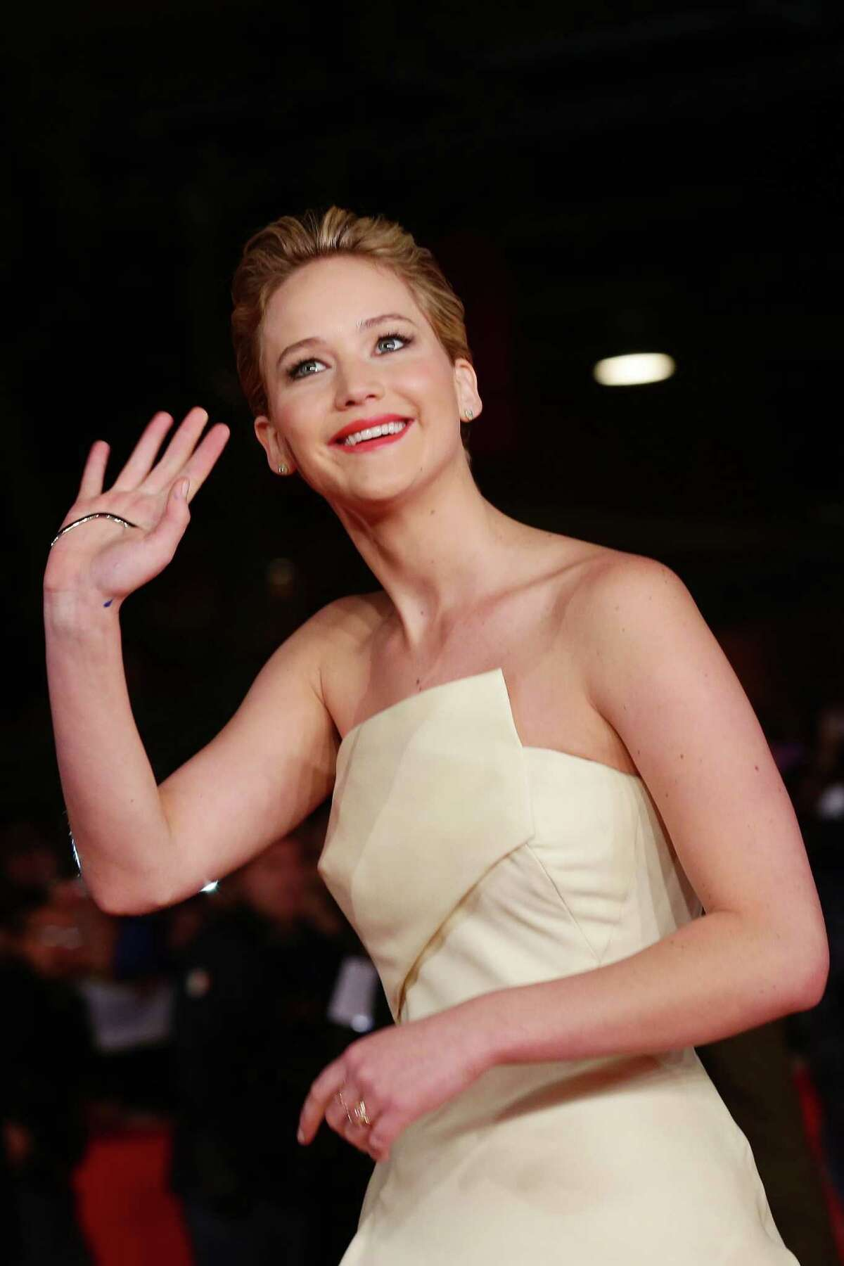 Jennifer Lawrence attends 'The Hunger Games: Catching Fire' Premiere during The 8th Rome Film Festival on November 14, 2013 in Rome, Italy.